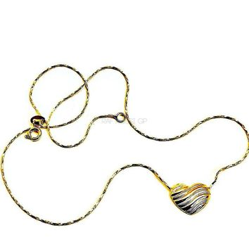 "Tri-Color Heart 18"" L Necklace 18kt of Gold Plated"