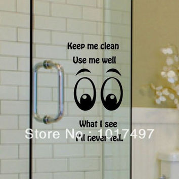 Funny glass wall decal stickers family toilet bathroom glass door window glass decorative removable vinyl wall stickers