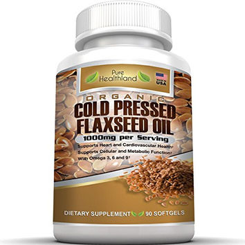 Organic Cold Pressed Flaxseed Oil Softgels 1000mg By Pure Healthland. Omega 3 6 9 Essential Fatty Acids. Flax Seed Oil Supplement Pills for Heart Health Boost Metabolism Healthy Hair, Skin and Nails