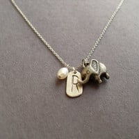 Initial R elephant pearl necklace