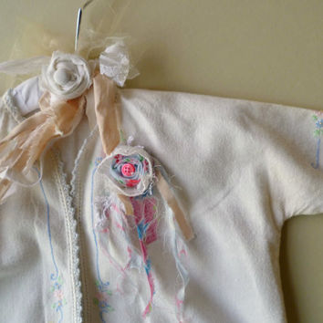 Vintage Baby Bed Jacket adorned on a French Shabby Chic Hanger. Vintage Baby Nursery Display. Baby Shower Gift. Country Prairie Photo Prop.