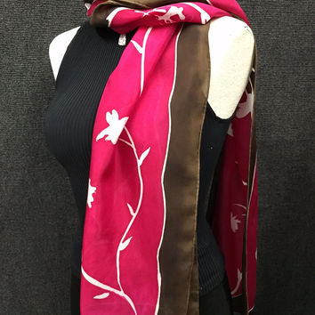 Dogwood  Magenta - Hand Painted Silk Scarf