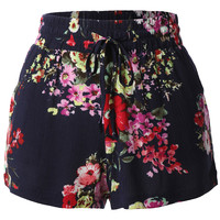 LE3NO Womens Lightweight Loose Floral Printed Summer Shorts (CLEARANCE)