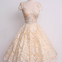 White Short Sleeve V-Neck Floral Lace Tent Dress