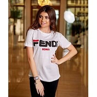 FENDI Summer Popular Women Casual Print Round Collar Top T-Shirt Blouse White