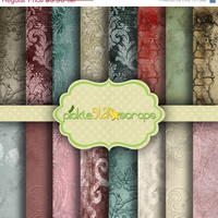 ON SALE Printable Shabby Romantic Grunge Textured Paper Backgrounds - French Romance - 16 Digital Scrapbook Papers - 8.5x11inch -  INSTANT D
