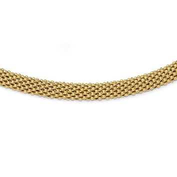 Leslies Sterling Silver Gold-tone Polished Mesh Bracelet