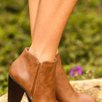 One Way Or Another Booties-Cognac