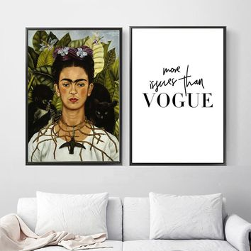 Frida Kahlo Vogue Quotes Monkey Nordic Posters And Prints Wall Art Canvas Painting Pop Art Wall Pictures For Living Room  Decor