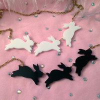 Opaque Acrylic Bouncing Bunnies Necklace