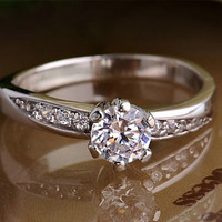 H&A 0.6 CT Platinum promise ring - Wedding Ring - Her Promise Ring - Custom ring - Engagement Ring