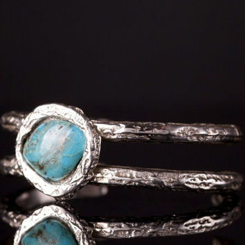Sterling Silver Double Open Bangle Turquoise Bracelet