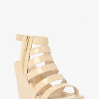 Strappy Patent Leather Platform Wedges (Wide Width)