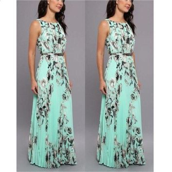 Women Fashion Summer Sexy Elegant Sleeveless Floral Print Slim Waist Evening Prom Ball Gown Long Maxi Dress