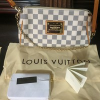 Louis Vuitton Damier Azur Transitional Clutch/ Shoulder Bag w matching wallet!!