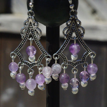Amethyst Chandelier Earrings ~ Faceted Amethyst Stones ~ Lavender Semi Precious Stones ~ Gift for Teacher ~ Graduation Gift ~ Prom Wear