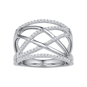 10kt White Gold Womens Round Diamond Criss Cross Crossover Cocktail Ring 1/3 Cttw