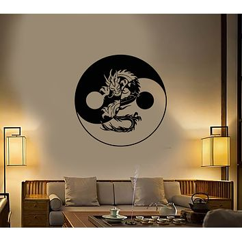 Vinyl Wall Decal Yin Yang Symbol Buddhism Asian Chinese Dragon Stickers (3216ig)