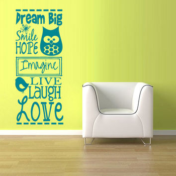 rvz903 Wall Vinyl Sticker Decals Decor Bedroom Words Sign Quote Nursery Kids Baby Love Laugh Birds