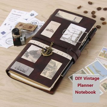 Leather Traveler Notebook Planners Creative DIY Vintage Travel Journal Notepads A5 Sprial Recording Daily Memos Notebooks Gifts