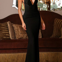 Black Spaghetti Strap Plunging V-Neckline Bare Back Evening Dress