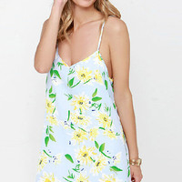 White Floral Printed V-neck Strappy Mini Dress