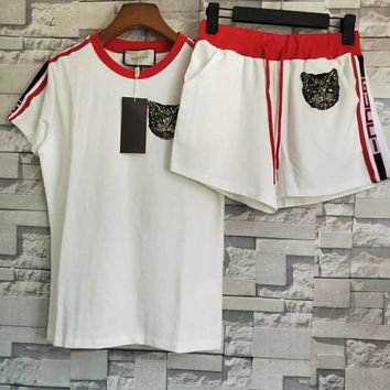 GUCCI Stripe Sequin Cat Top Shorts Set Two-Piece