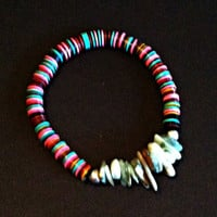 African Recycled Vinyl Bead Bracelet with Abalone Shell Piece in  Multi Color Vinyl Beads