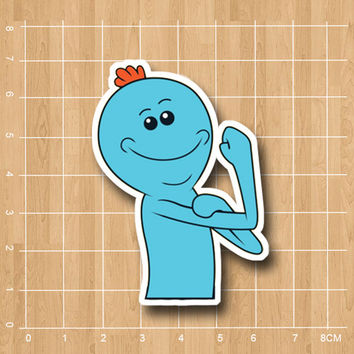 Rick and morty Mr.Meeseeks waterproof pvc sticker for kids notebook diary Computer laptop phone suitcase bubble sticker