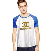 Chanel Gliter Gold For Short Raglan Sleeves T-shirt, Red Tees, Black Tees, Blue Tees ***