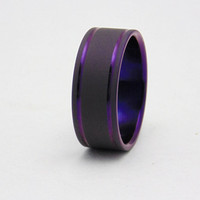 Titanium ring with double plum crazy purple pinstripes, Handmade titanium wedding band