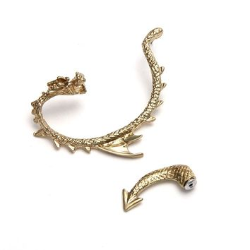 Women Gothic Punk Dragon Ear Cuff Stud Earring