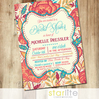 Bridal Shower Invitation - 5x7 - Colorful Exotic Floral Unique Coral Turquoise, vintage style - Typography - Printable Design - You Print