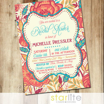 Shop bridal shower invitation coral on wanelo bridal shower invitation 5x7 colorful exotic floral unique coral turquoise vintage style filmwisefo Image collections