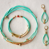 Set Mint Green Leather Necklace Bracelet and Earrings by pardes