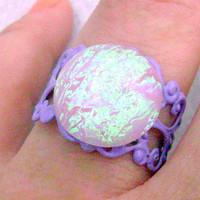 Purple Enamled Filigree Ring with Iridescent Pink Cabochon, Handmade Resin Cabochon Magic Ring, OOAK Holographic Princess Ring