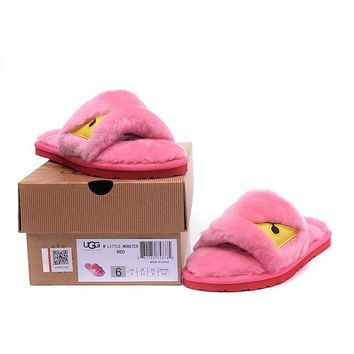 ESBON UGG Big Eyes Little Monster Slipper Women Men Fashion Casual Wool Winter Snow Boots Pink