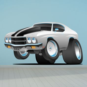 Chevelle Muscle Car Cartoon 2 Wall Decal