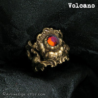 Haunted Flowers Top Knuckle Ring - Choose Your Color - Swarovski and Brass