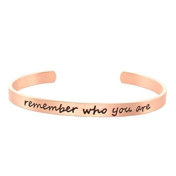 Remember Who You Are Script Cuff Bracelet