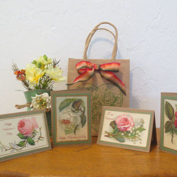 Valentine's Day Stationery - Greeting Cards – Handmade Gift Cards with Envelopes – Vintage Floral Images – Kraft Paper – Set of 4