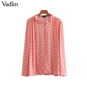Vadim women sweet floral oversized blouse ruffled collar long sleeve pleated shirt female pink office wear loose cute tops LA245