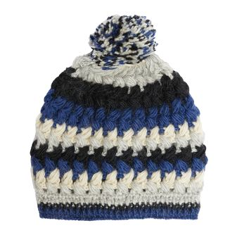 Hand Knit Wool Fleece Lined Crochet Beanie Pom Pom Hat