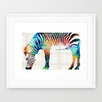 Colorful Zebra Art by Sharon Cummings Framed Art Print by Sharon Cummings | Society6
