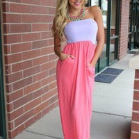 LILAC/PINK Maxi Tube Dress with Cinched Bust with Two Side Pockets - Modern Vintage Boutique