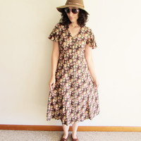 90s Grunge Midi Floral Roses Button Up Hipster Dress
