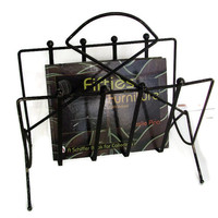 Mid Century Magazine Rack, Black Metal Wire, Retro Home Decor, Urban Industrial, Vintage Office
