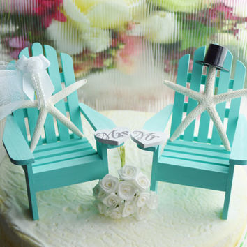 Wedding Cake Topper ~ Robins Egg Blue ~ Miniature Adirondack Chairs  ~  Starfish Bride / Groom ~ Beach Wedding Decor ~ Cake Topper