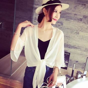 Trendy New Arrival 2018 Summer Style Women Casual Loose Long See-Through Mesh Tops Sheer Open Cardigan Solid Shirts Coat Jacket 2 Color AT_94_13