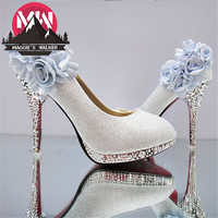 MAGGIE'S WALKER Hot-selling Spring and Autumn flower high thin heels paillette bride wedding shoes height 6/9 cm size 34~41